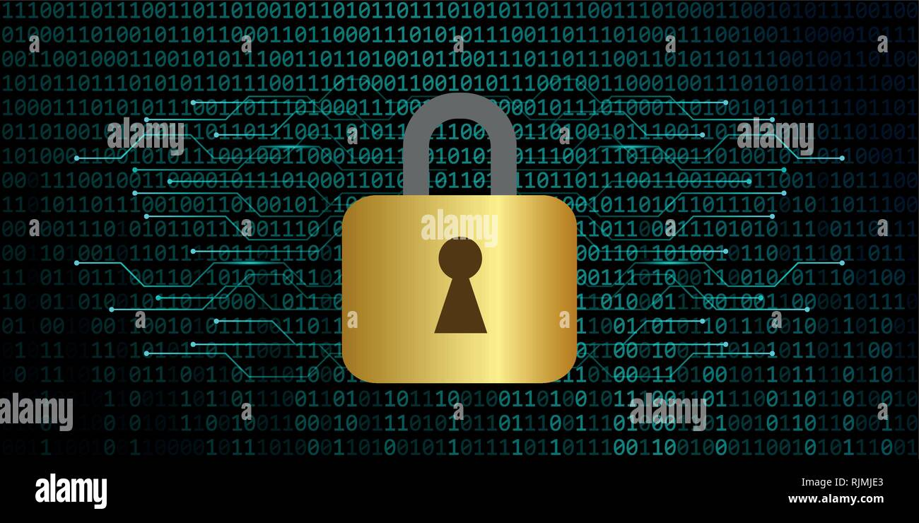secure digital data connection with lock binary code background vector illustration EPS10 - Stock Image