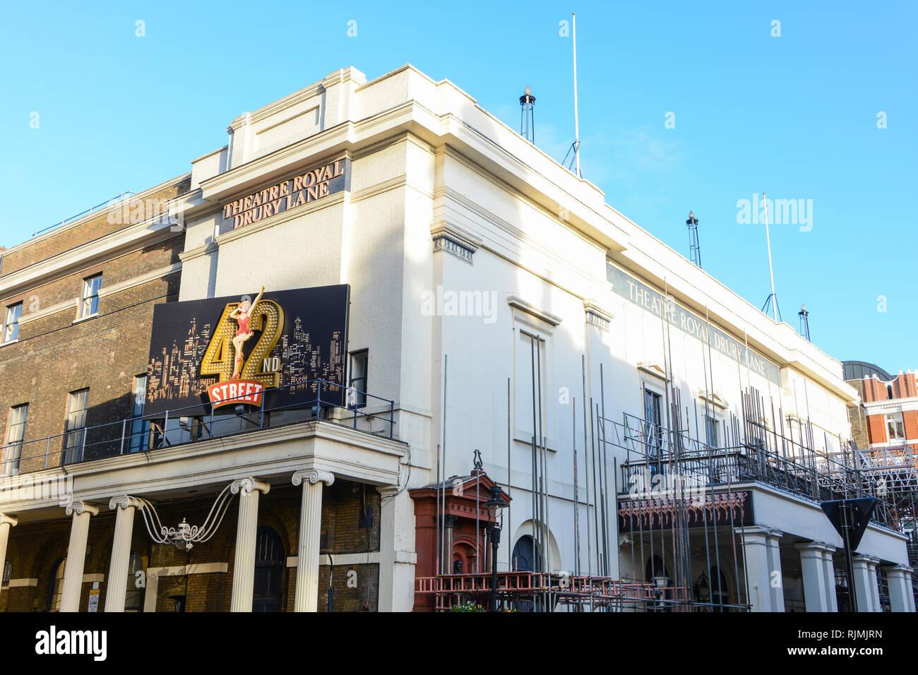 The exterior of the Theatre Royal, Drury Lane undergoing a £45 million refurbishment - Stock Image