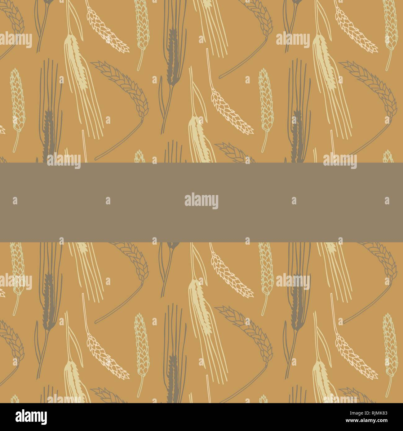 Hand drawn spring wheat vector pattern card template in brown and orange colors palette - Stock Vector