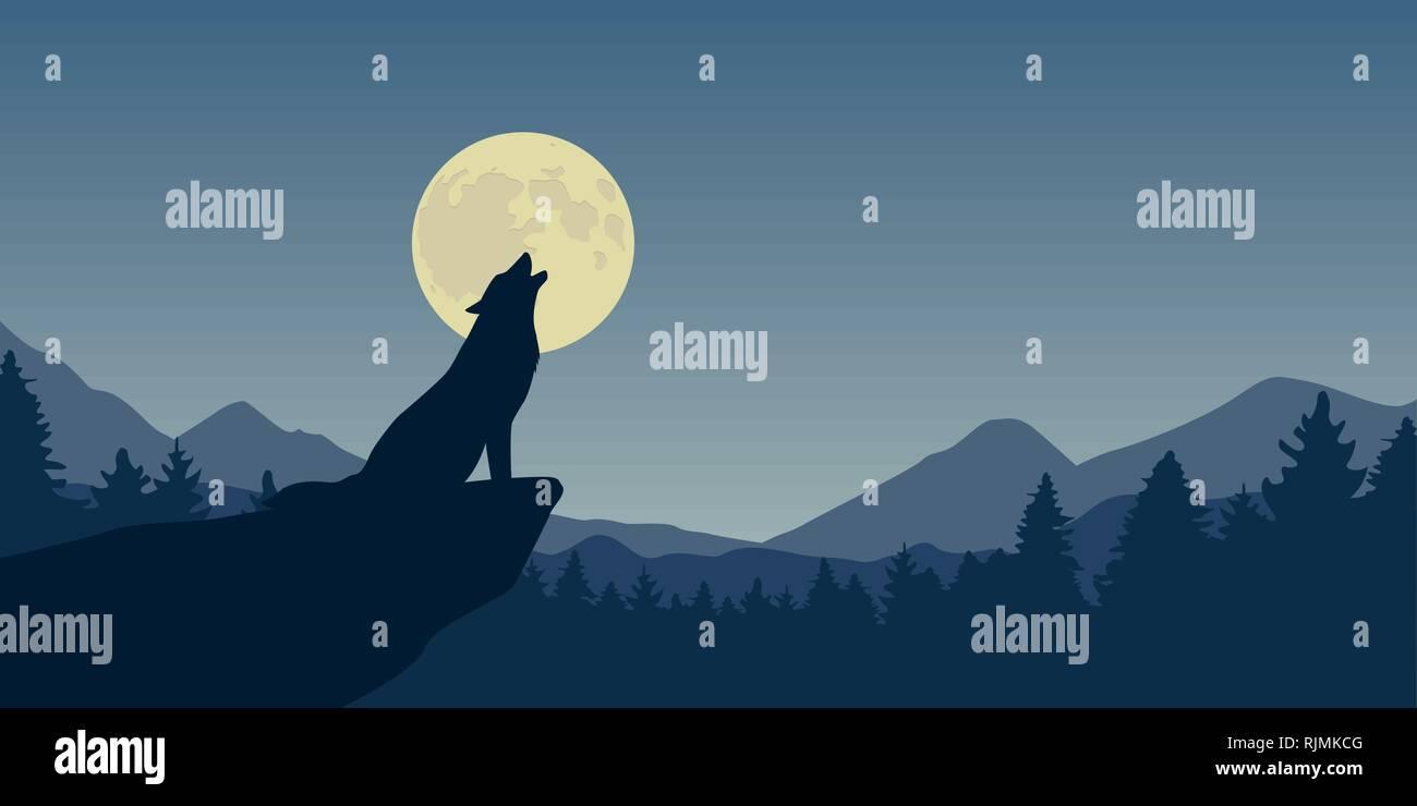 wolf howls at full moon blue nature landscape vector illustration EPS10 - Stock Image