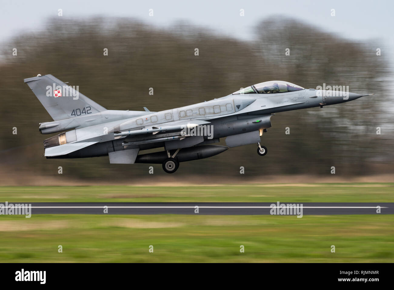 A Lockheed Martin F-16D fighter jet of the Polish Air Force. - Stock Image