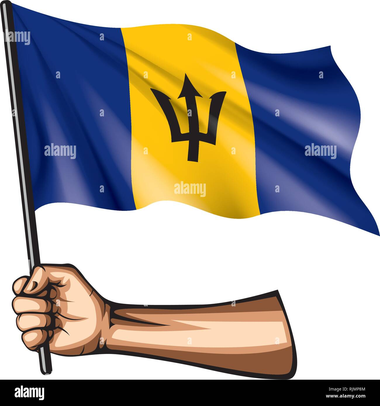 Barbados flag and hand on white background. Vector illustration Stock Vector
