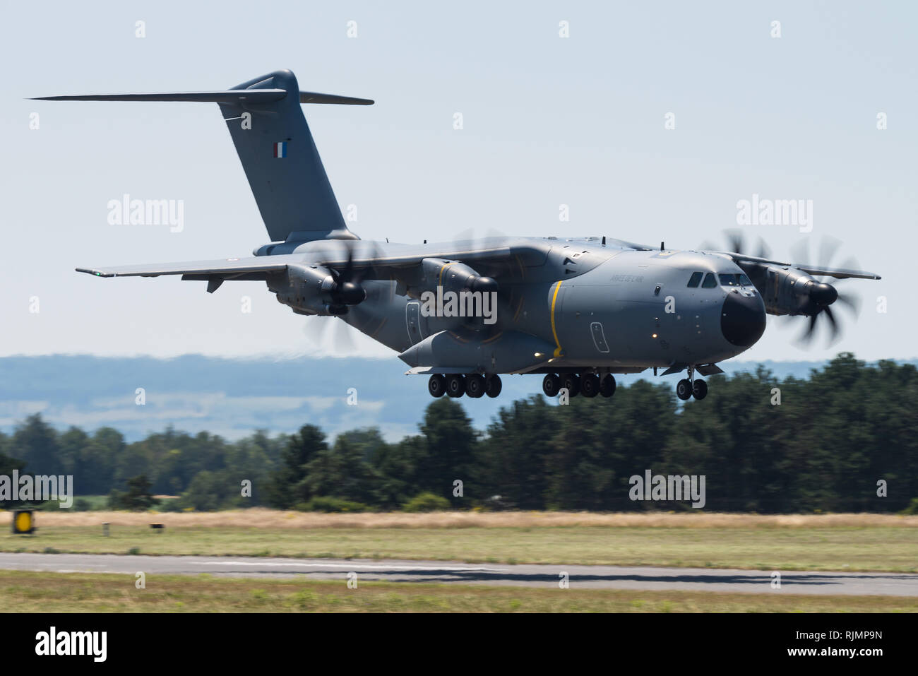 An Airbus A400M Atlas military transport aircraft of the French Air Force at the Base aérienne 133 Nancy-Ochey. - Stock Image