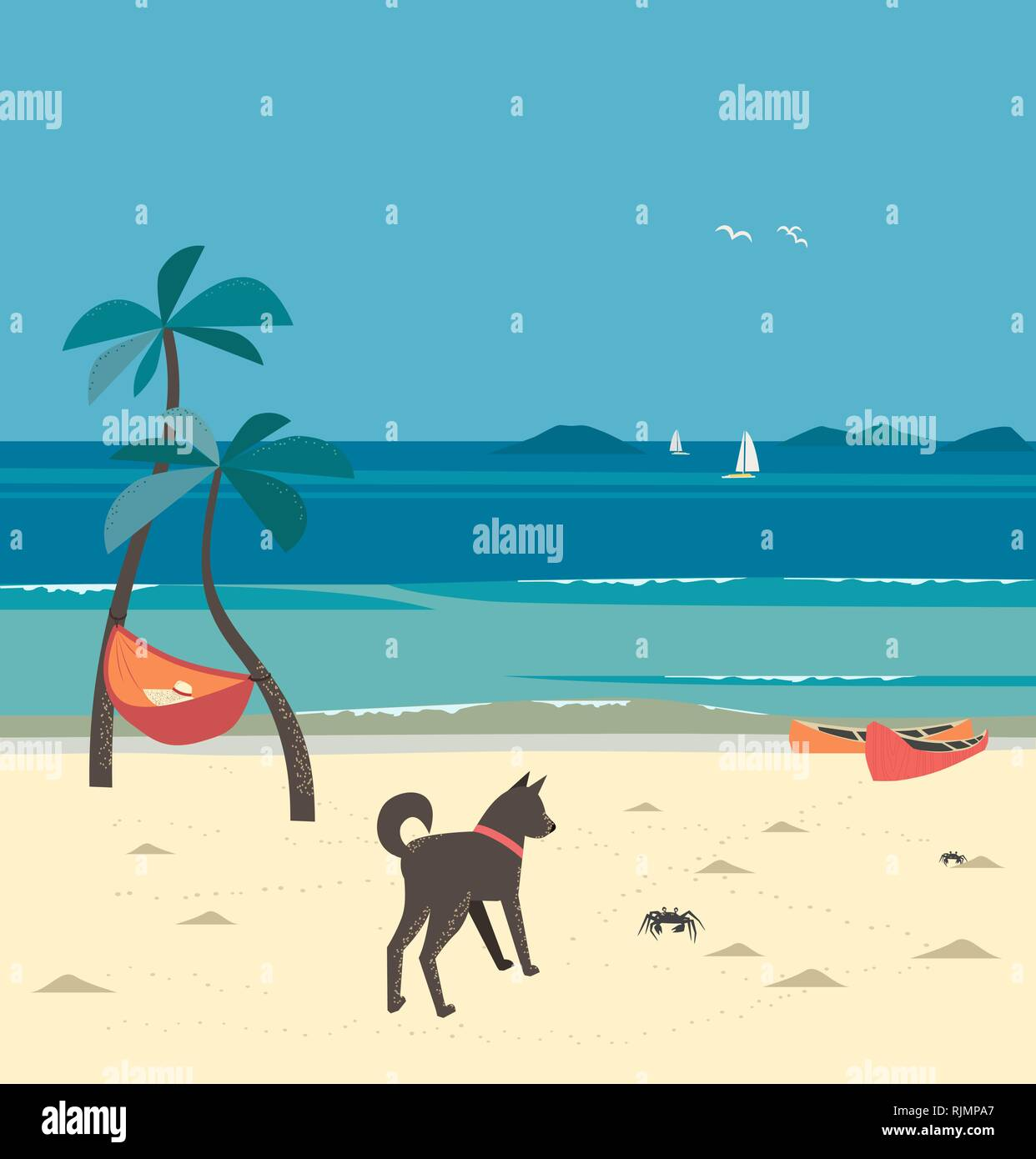 Holiday vacation season sea travel leisure Stock Vector
