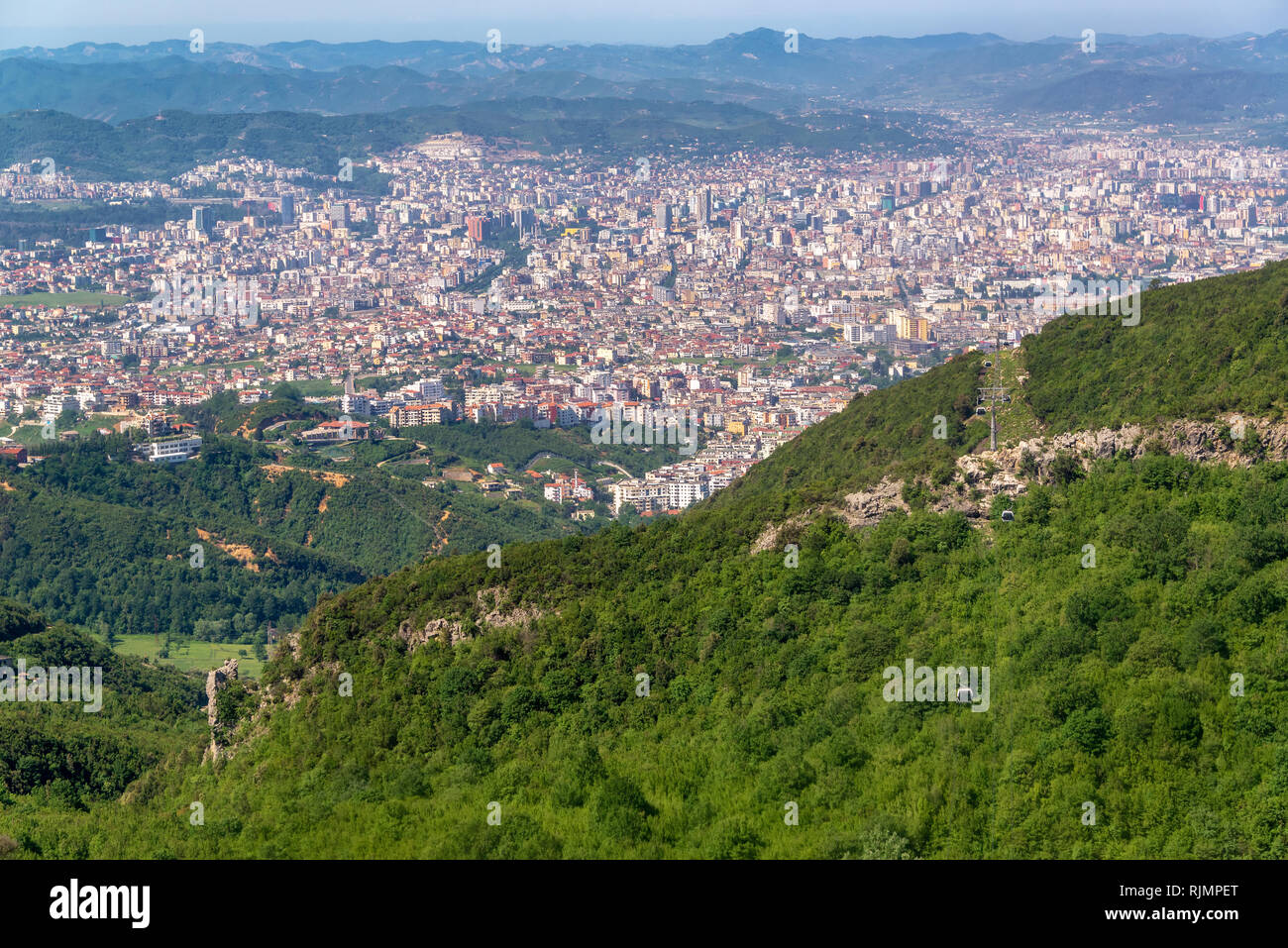Cityscape view of Tirana, Albania as seen from the Dajti Express - Stock Image