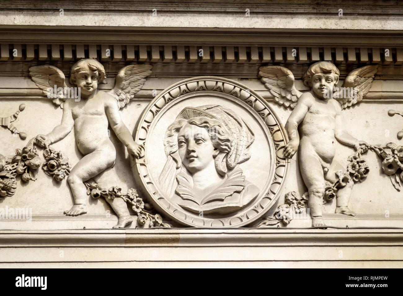United Kingdom Great Britain England City of London Cornhill Street building exterior ornamental architecture bas-relief sculpture medallions decorati - Stock Image