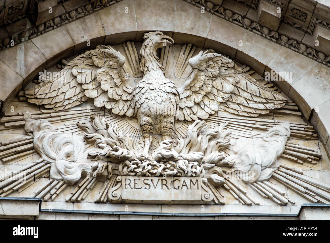 United Kingdom Great Britain England City of London Paternoster architectural ornamental sculpture phoenix statue mythology Latin word Resurgam reborn - Stock Image