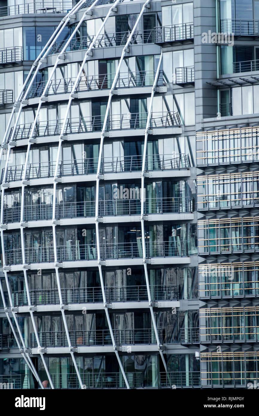 United Kingdom Great Britain England, London, South Bank, Southwark, Bankside, Riverside House, building, skyscraper, exterior, metal exoskeleton, con Stock Photo