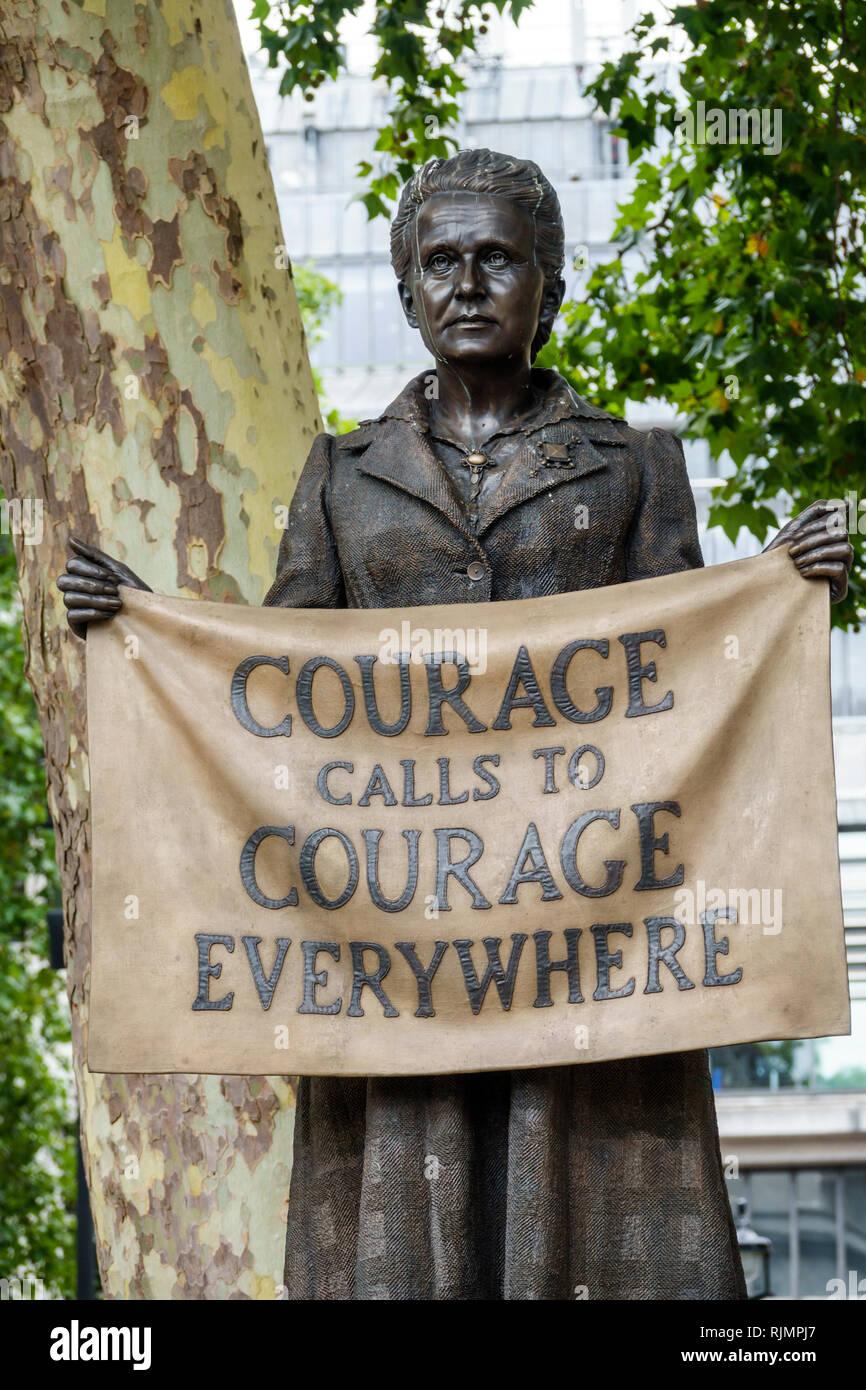 London England United Kingdom Great Britain Westminster Parliament Square Garden public park plaza suffragist suffragette Millicent Fawcett statue quo - Stock Image