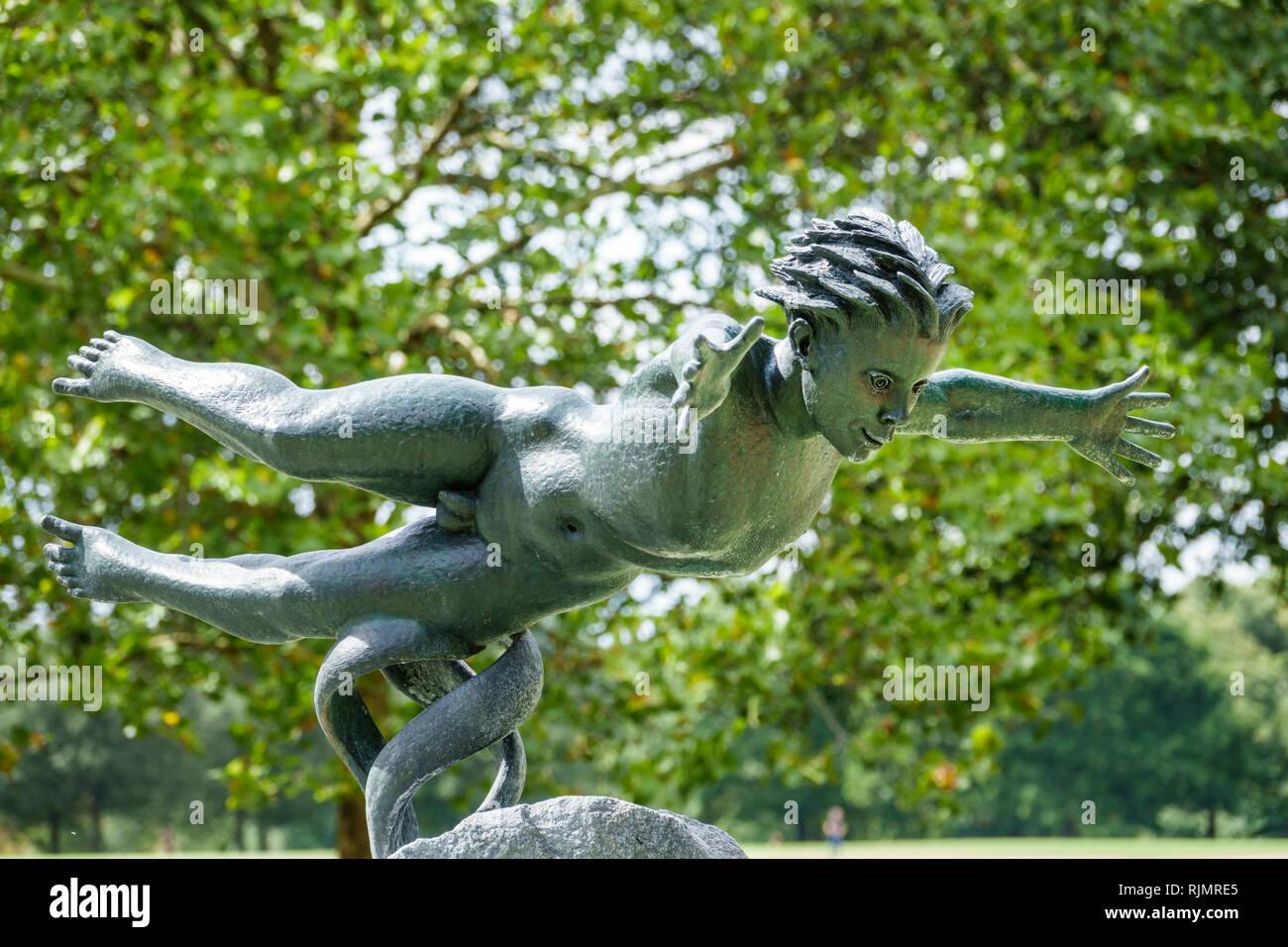 United Kingdom Great Britain England London Hyde Park public park Joy of Life fountain by Huxley-Jones bronze sculpture - Stock Image