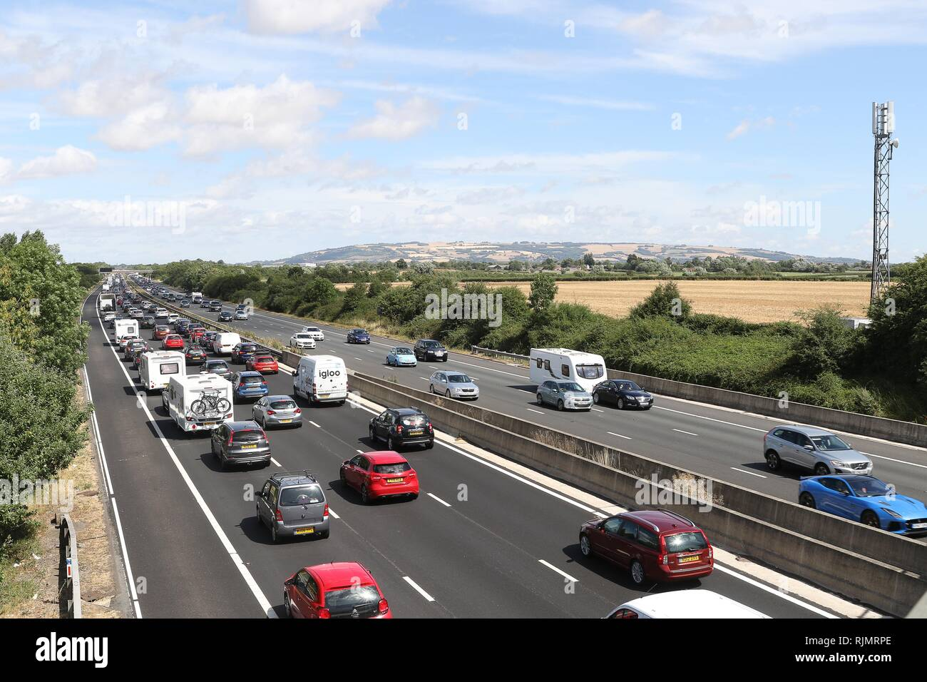 GV of M5 Motorway between Cheltenham and Tewkesbury showing holiday traffic delays northbound - 28.7.2018  Picture by Antony Thompson - Thousand Word  - Stock Image