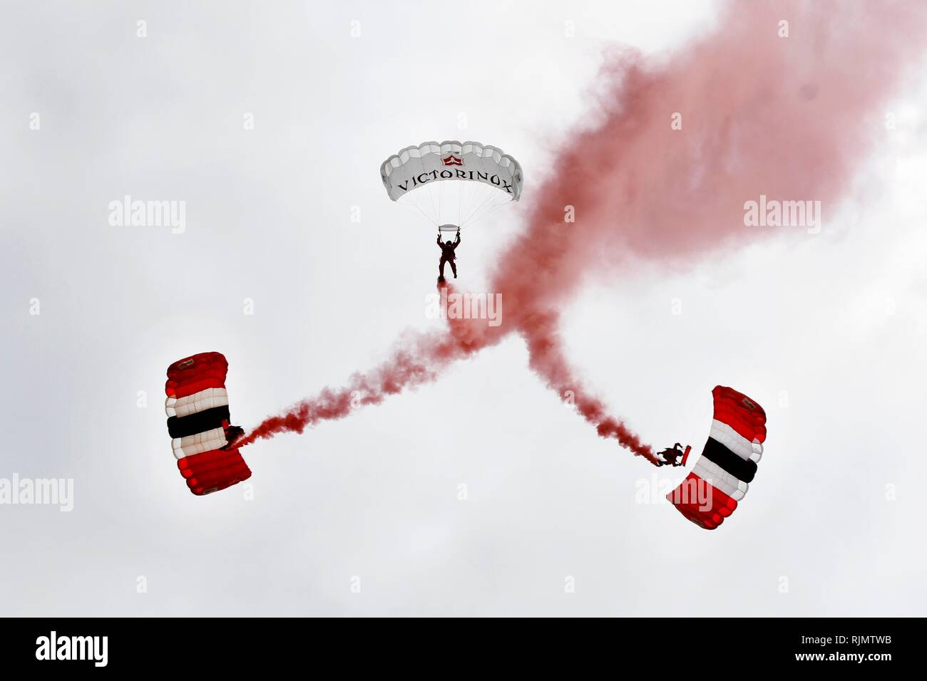 The Red Devils, the official parachute display team of the British Army and The Parachute Regiment, make a spectacular freefall parachute drop. - Stock Image