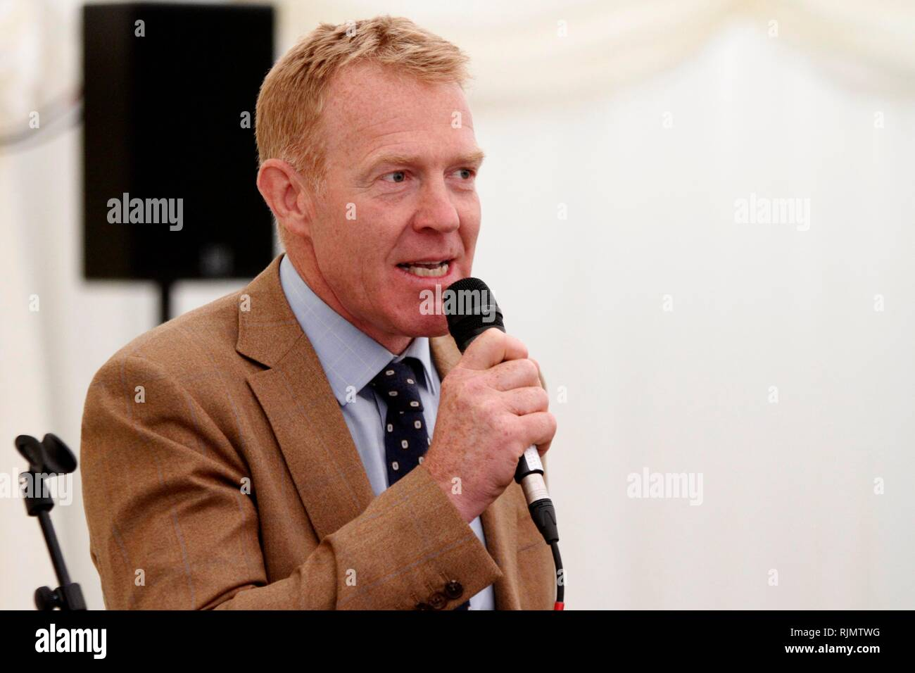 Adam Henson, farmer and BBC Countryfile presenter, speaks before a sponsor's lunch, at The Royal Three Counties Show at the Three Counties Showground  - Stock Image