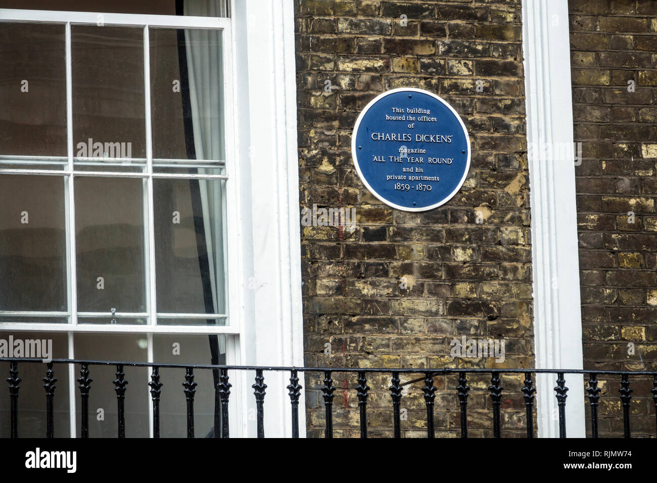 London England United Kingdom Great Britain Westminster Wellington Street Blue Plaque historical marker Charles Dickens All the Year Round literary ma - Stock Image