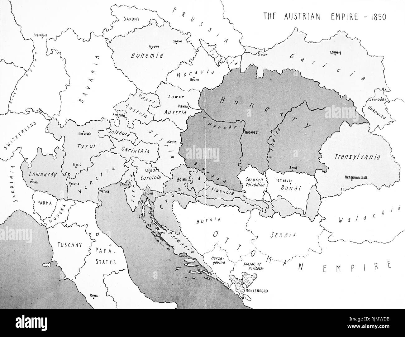 Map of the Austrian (Austro-Hungarian), Empire. 1850 - Stock Image