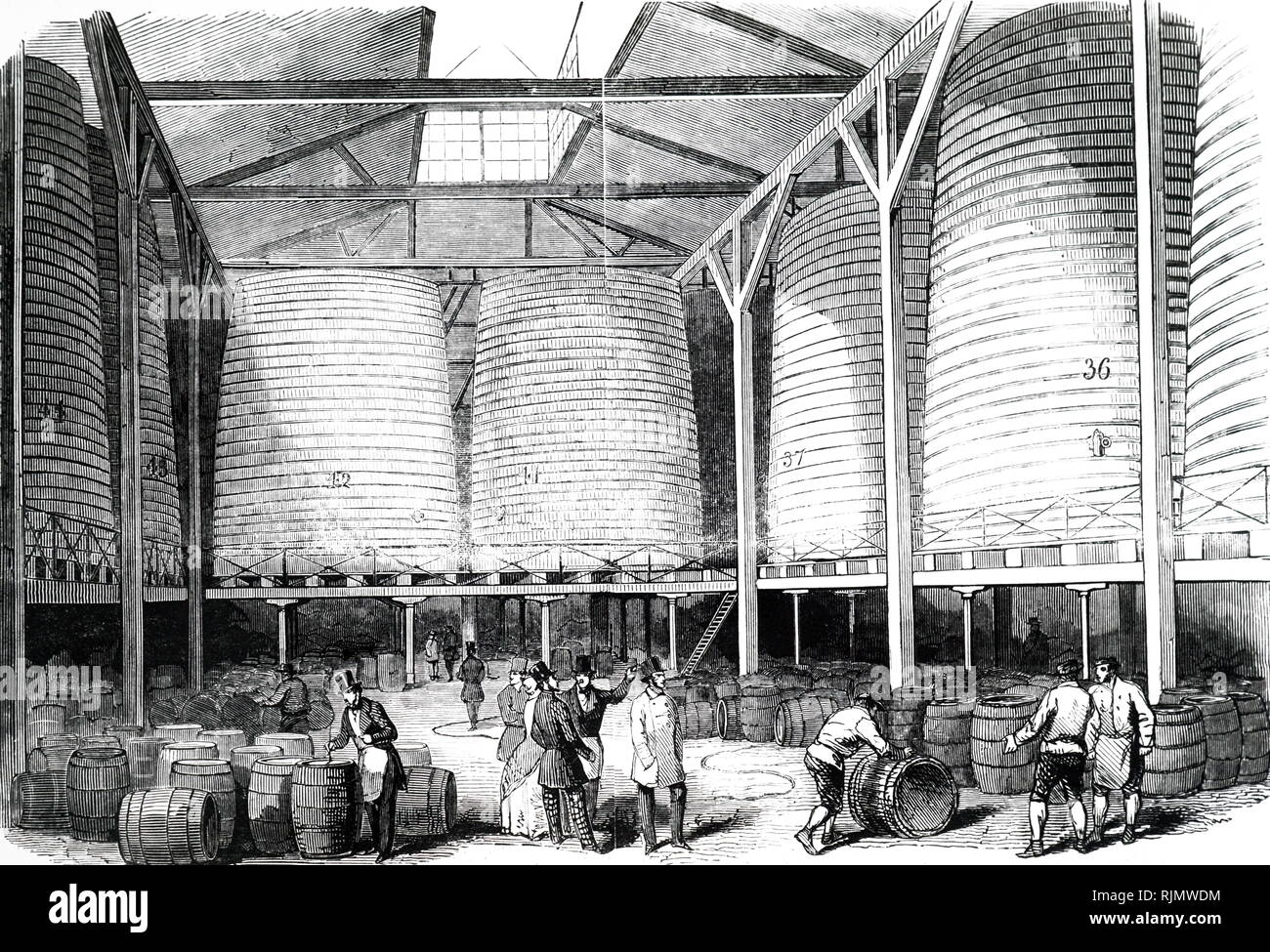 An engraving of Brewing: storage vats at Barclay and Perkins Brewery, Southwark. 1847. - Stock Image