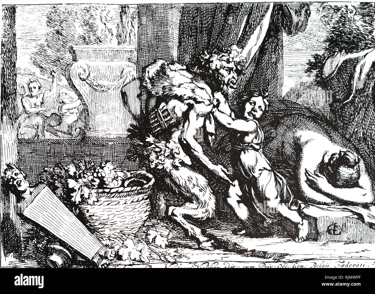 Bacchante with Silenus; etching by Gerard de Lairesse (1641 - 1711). In Greek mythology a Bacchante or Maenad, was a female follower of Dionysus. Silenus was a companion and tutor to the wine god Dionysus. Stock Photo