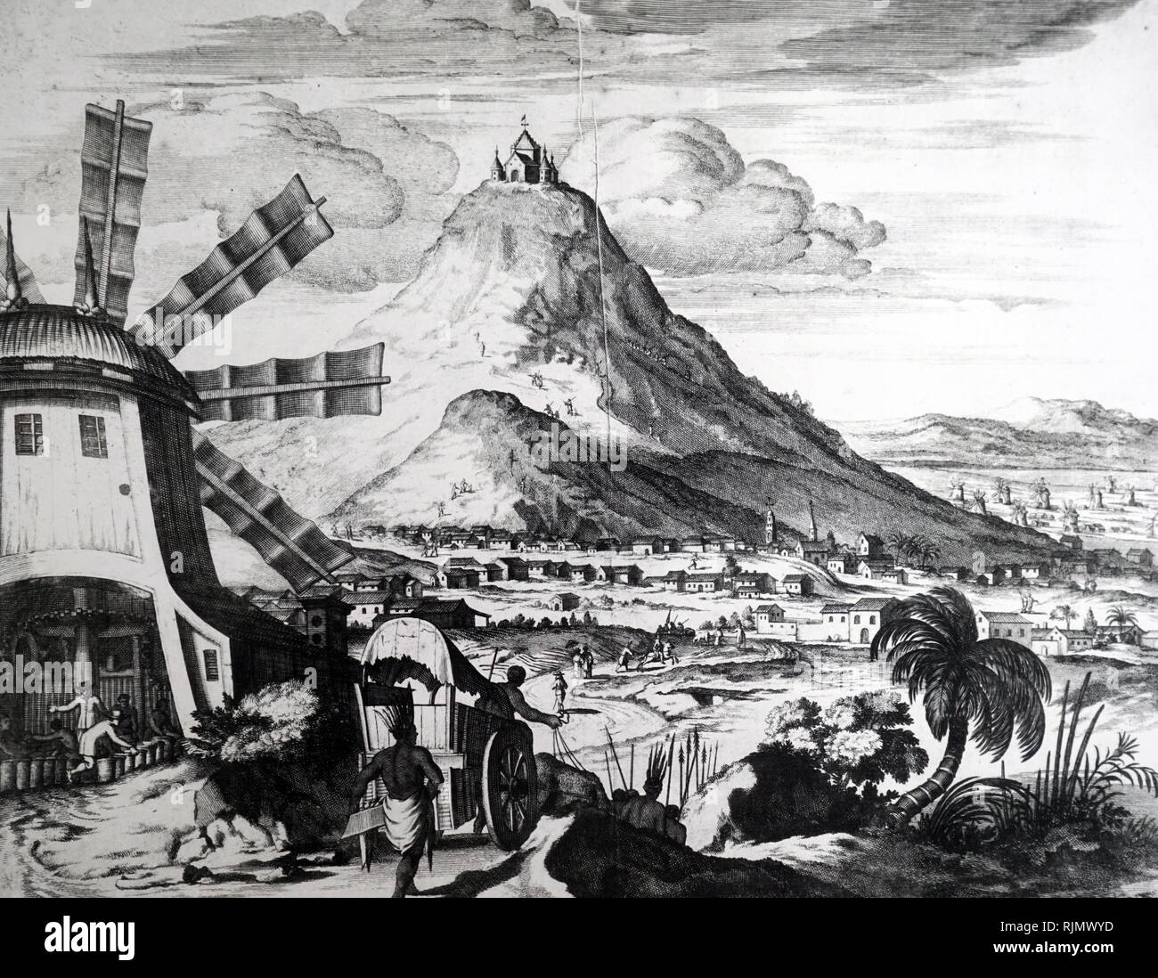 Mount Potosi (Bolivia); famous after rich deposits of silver were discovered in it in 1545. On the left of the picture is a wind-powered stamping mill, for treating the ore. From a  17th Century copperplate engraving - Stock Image