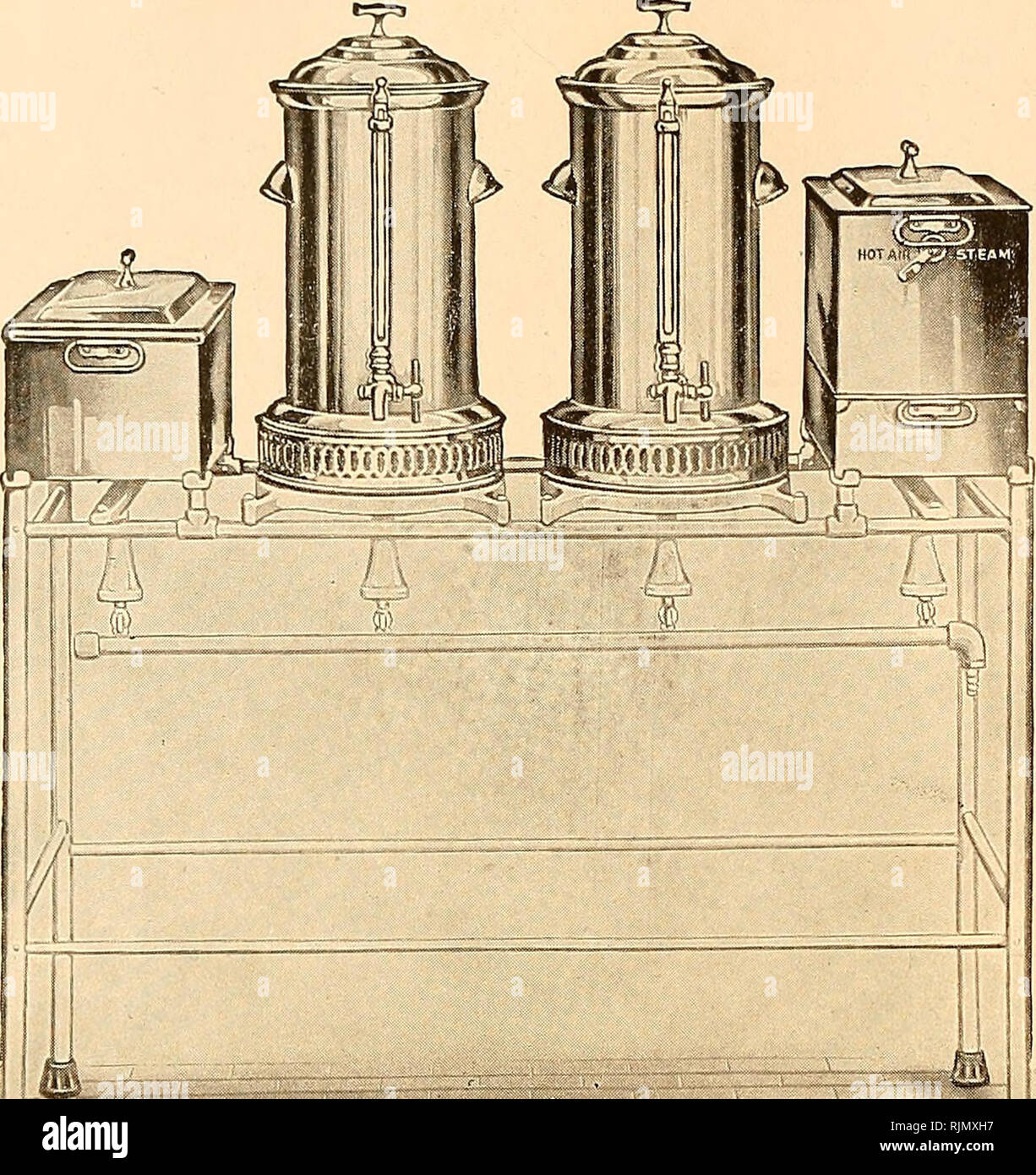. Bacteriological apparatus : pathological, biochemical. Scientific apparatus and instruments; Bacteriology; Chemical industry. GHfiH ®i)f Mill (Enrpnrattnrt, 3Rnrrn>0ij»r, N.. 17245 17245 Sterilizers—Complete Apparatus for Dressings and Instruments and for Supplying Hot and Cold Sterile Water. Sterilizers are of heavy cold- rolled copper, nickeled-plated on outside and coated with pure block tin on inside; water sterilizers have protected water gauge and three- way draw-off faucet; stands are tubular steel, finished in polished white enamel; supplies hot and cold sterile water and steriliz - Stock Image