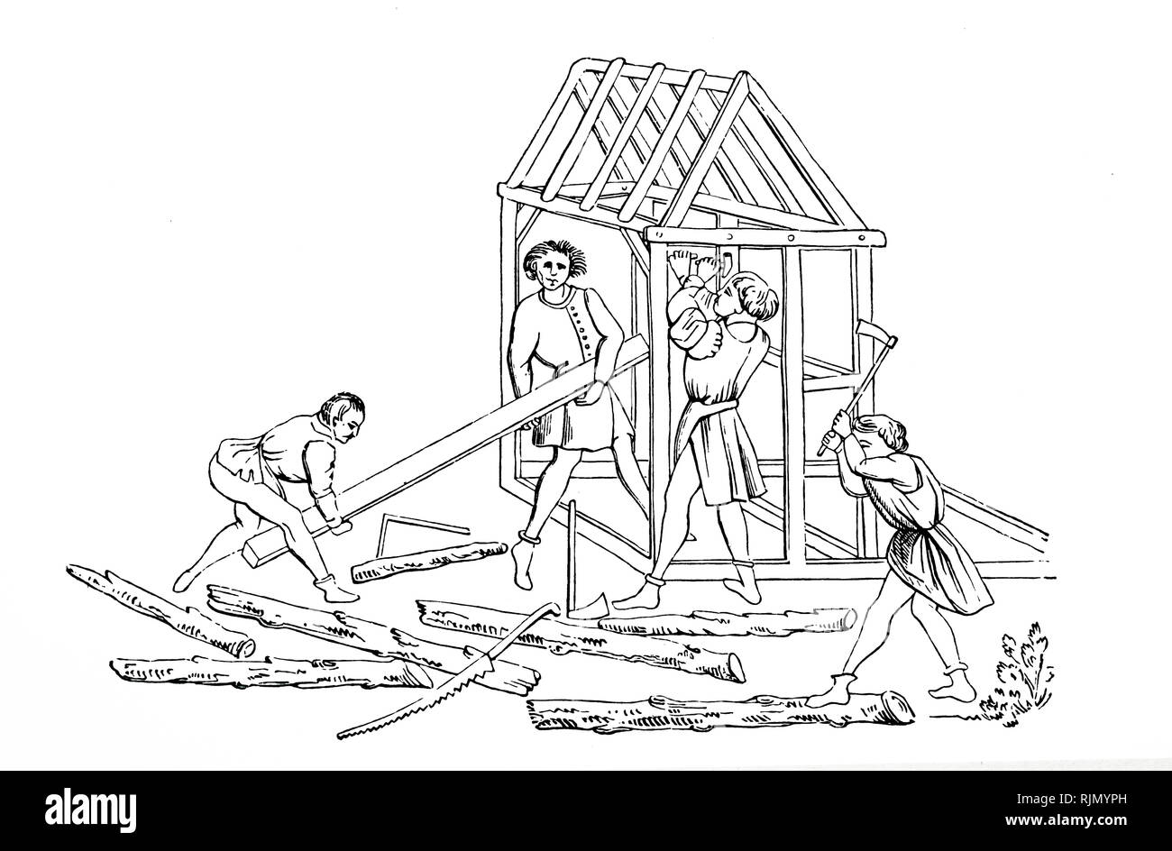 A woodcut engraving depicting carpenter's erecting a building. Woodcut after a fifteenth-century manuscript. Dated 19th century - Stock Image