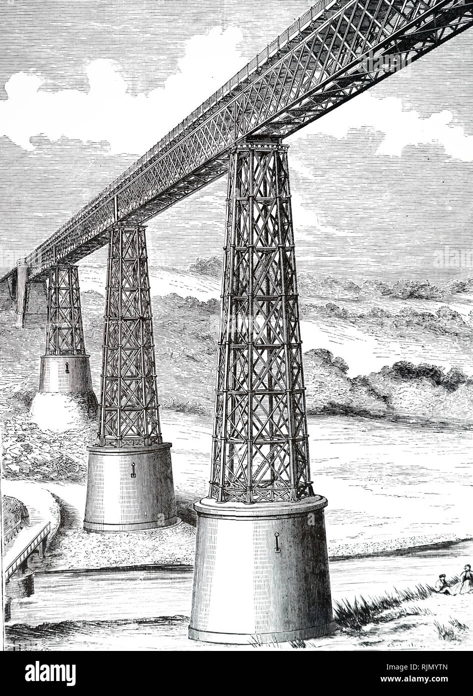 Illustration showing Lattice girder viaduct over the Cere. From The Popular Educator, Cassell, Peter & Calpin, 1885 - Stock Image