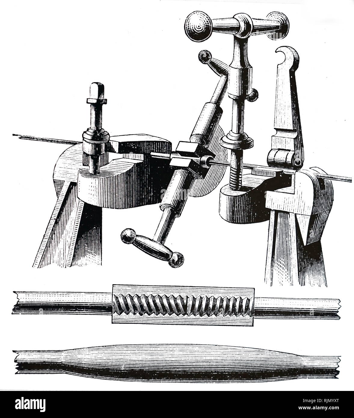Illustration showing sectional view of a cable anchor, from the Brooklyn Suspension Bridge, New York, designed and built by John Augustus Roebling (1806-1869), and his son Washington Augustus Roebling (1837-1926): opened 1883. Arrangement of 19 Strands, each of. 278 wires, which made up the main cables. 1883 - Stock Image