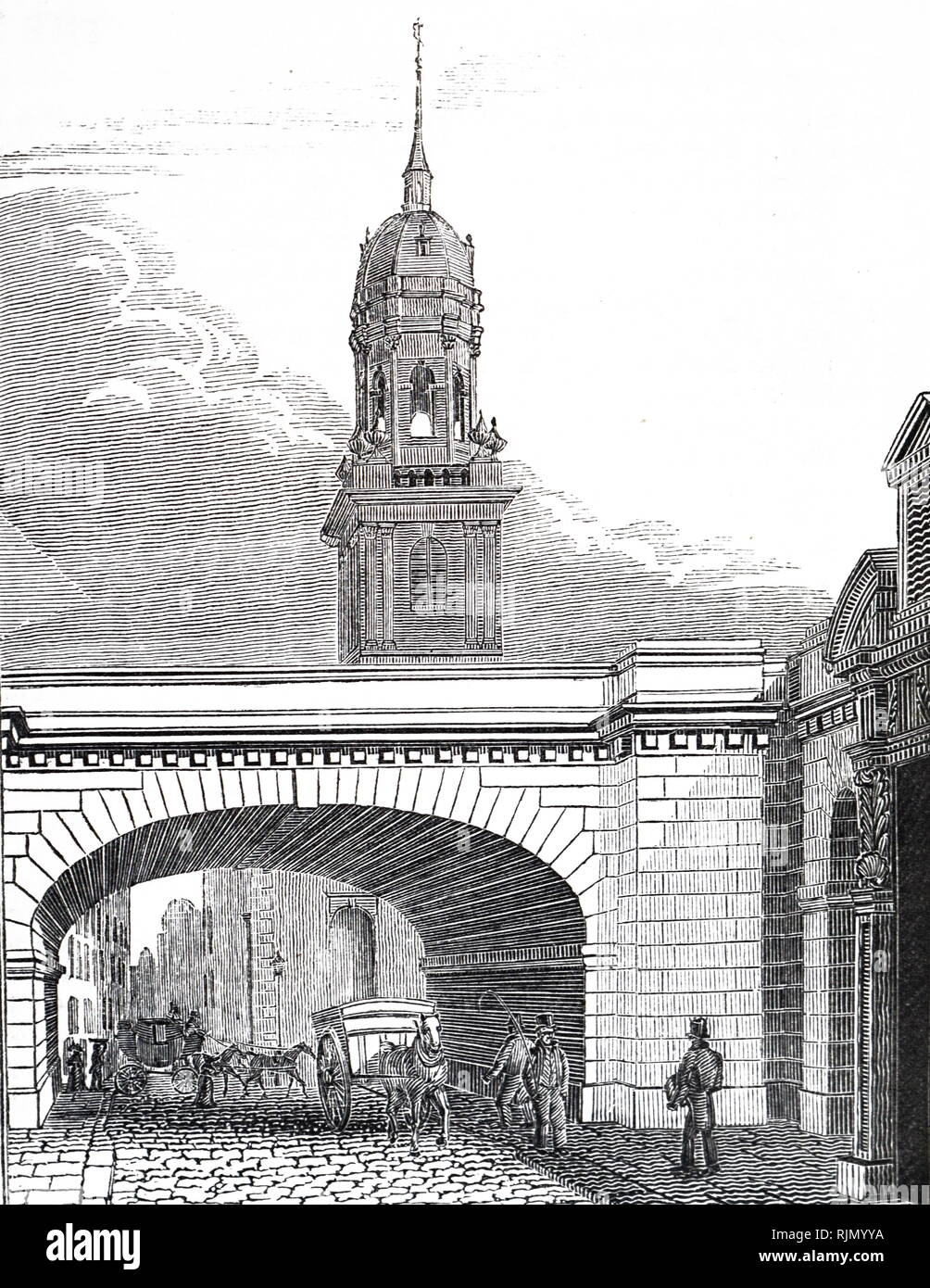 Illustration showing Arch of London Bridge over Thames Street. This was the new London Bridge opened on 1 August 1831. Designed by John Rennie. 1832 - Stock Image