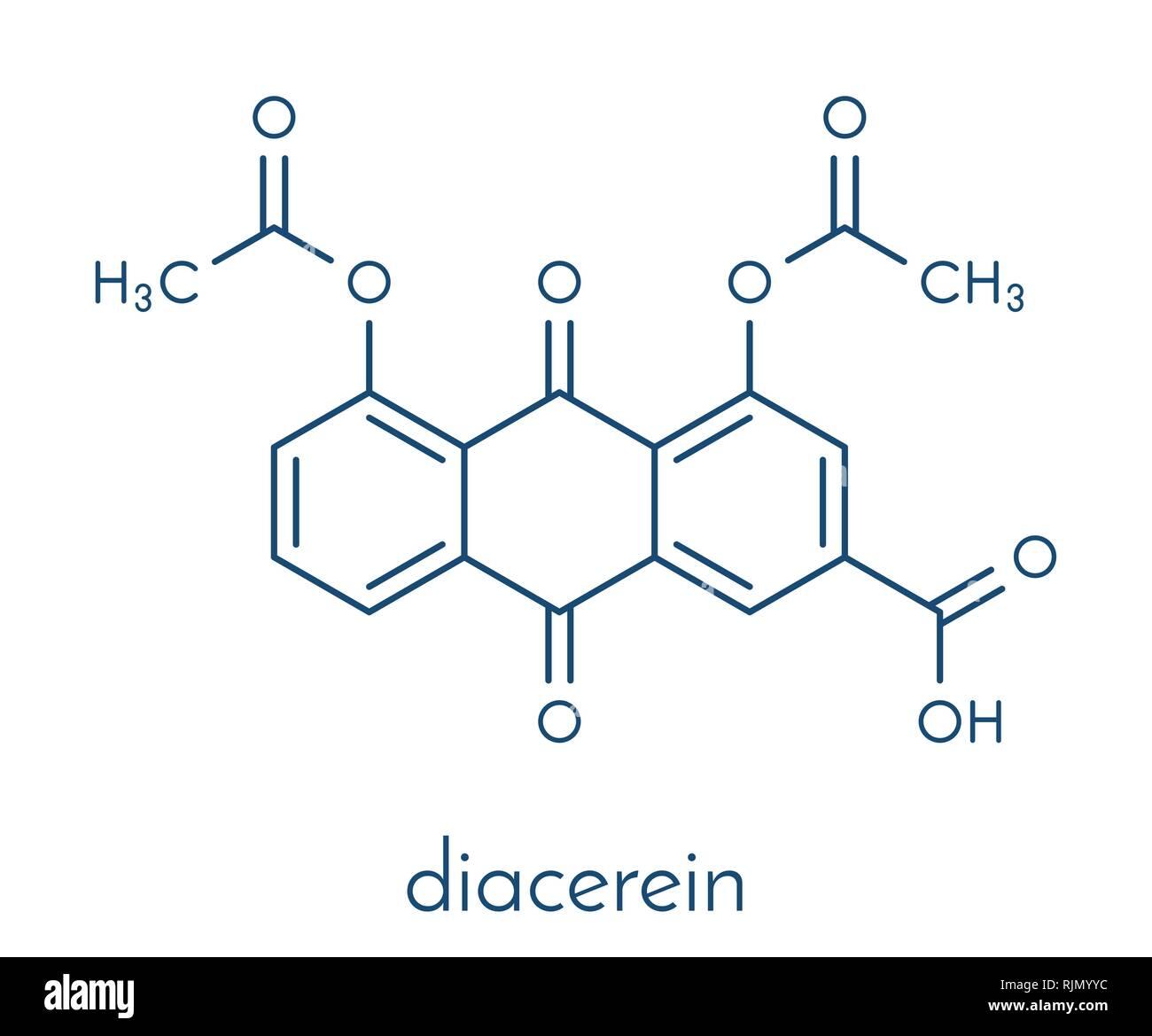 Diacerein drug molecule. Skeletal formula. - Stock Image