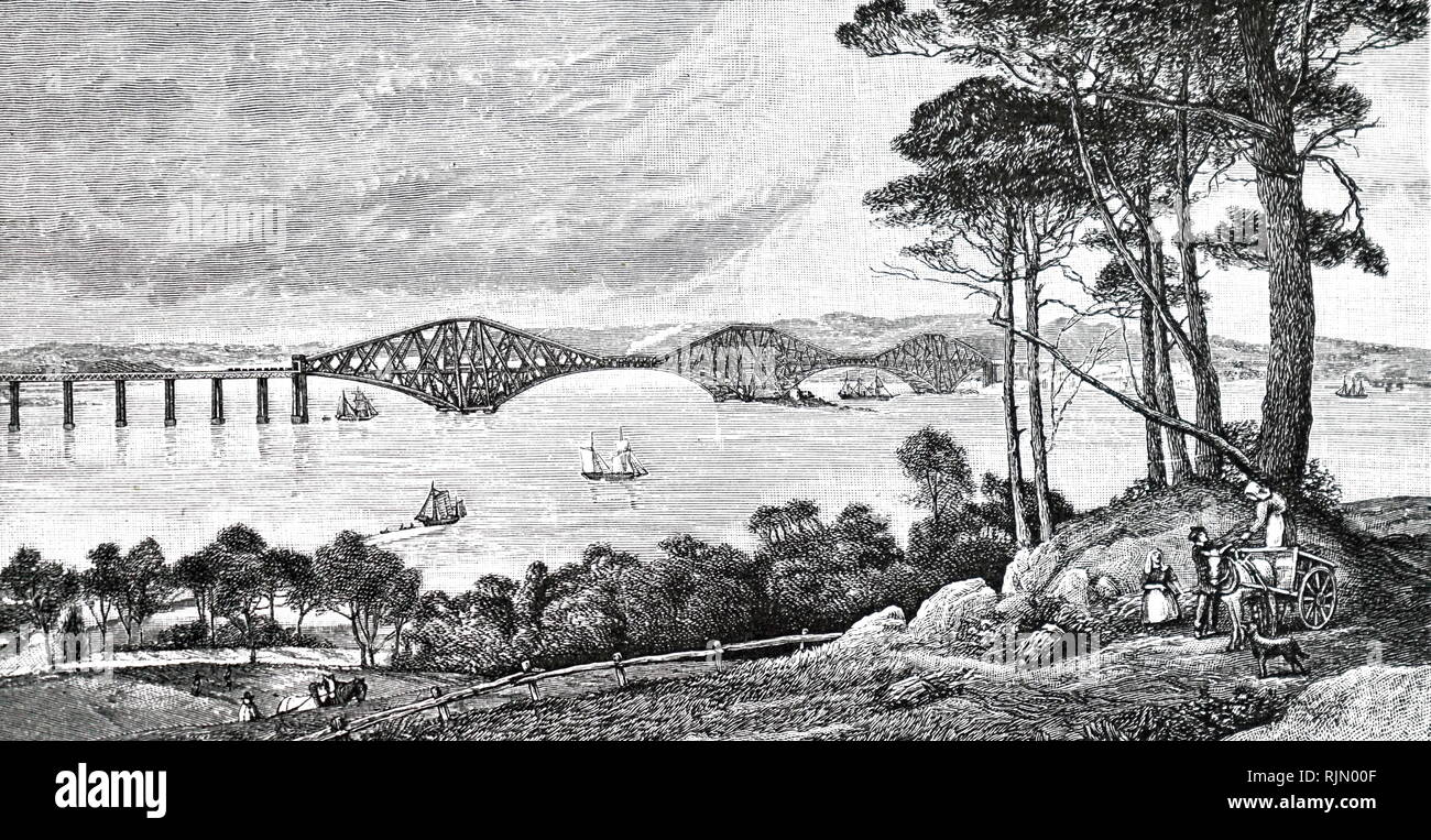 Illustration showing an artist's impression of the proposed railway bridge over the Firth or Forth, Scotland 1884 - Stock Image
