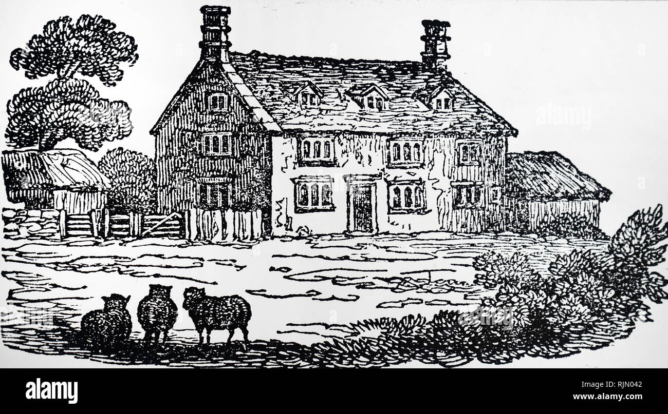 Woolsthorpe Manor, near Grantham, Lincolnshire, the house in which Isaac NEWTON was born. Illustration; 1832. Isaac Newton (1642 - 1727), British scientist. - Stock Image