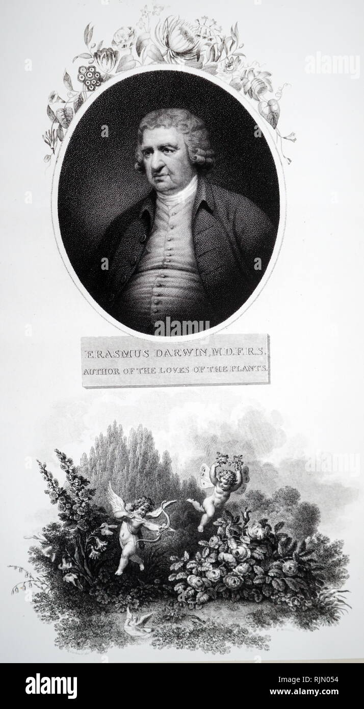 Erasmus Darwin, (1731-1802), naturalist and botanist. Illustration of his 'The Loves of the Plants', from a print published by Thornton in 1803 - Stock Image