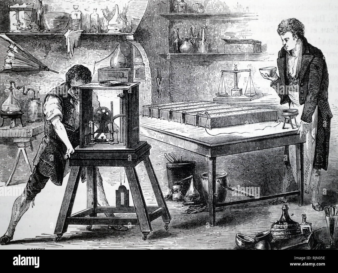 Illustration showing Humphry Davy using electrical decomposition to discover potassium and sodium (1807-8). Sir Humphry Davy (1778 - 1829), British chemist and inventor, best remembered for isolating, using electricity, a series of elements for the first time: potassium and sodium in 1807 and calcium, strontium, barium, magnesium and boron the following year, as well as discovering the elemental nature of chlorine and iodine. - Stock Image