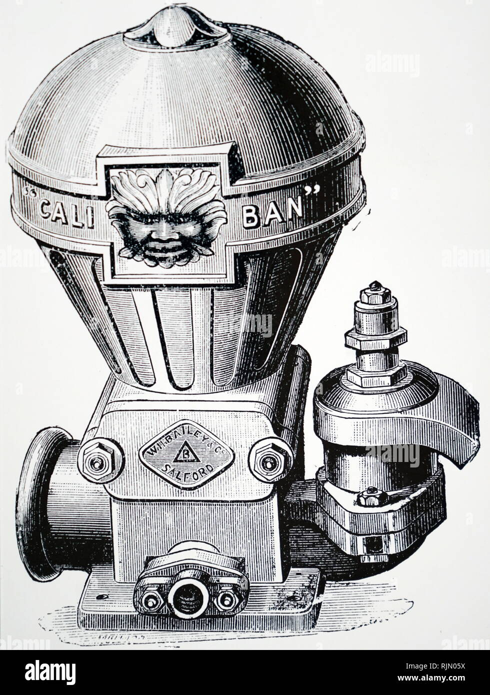 Illustration showing Hydraulic ram manufactured by W. H. Bailey of Manchester, and marketed under the name of 'Caliban'. - Stock Image