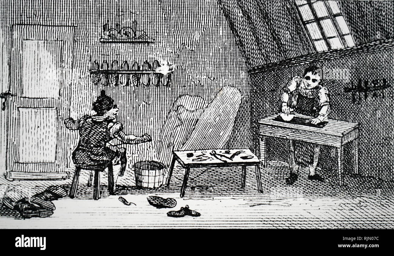 Illustration showing shoemaker's workshop, Stafford From the Rev. Isaac Taylor Scenes of British Wealth, London 1823 - Stock Image