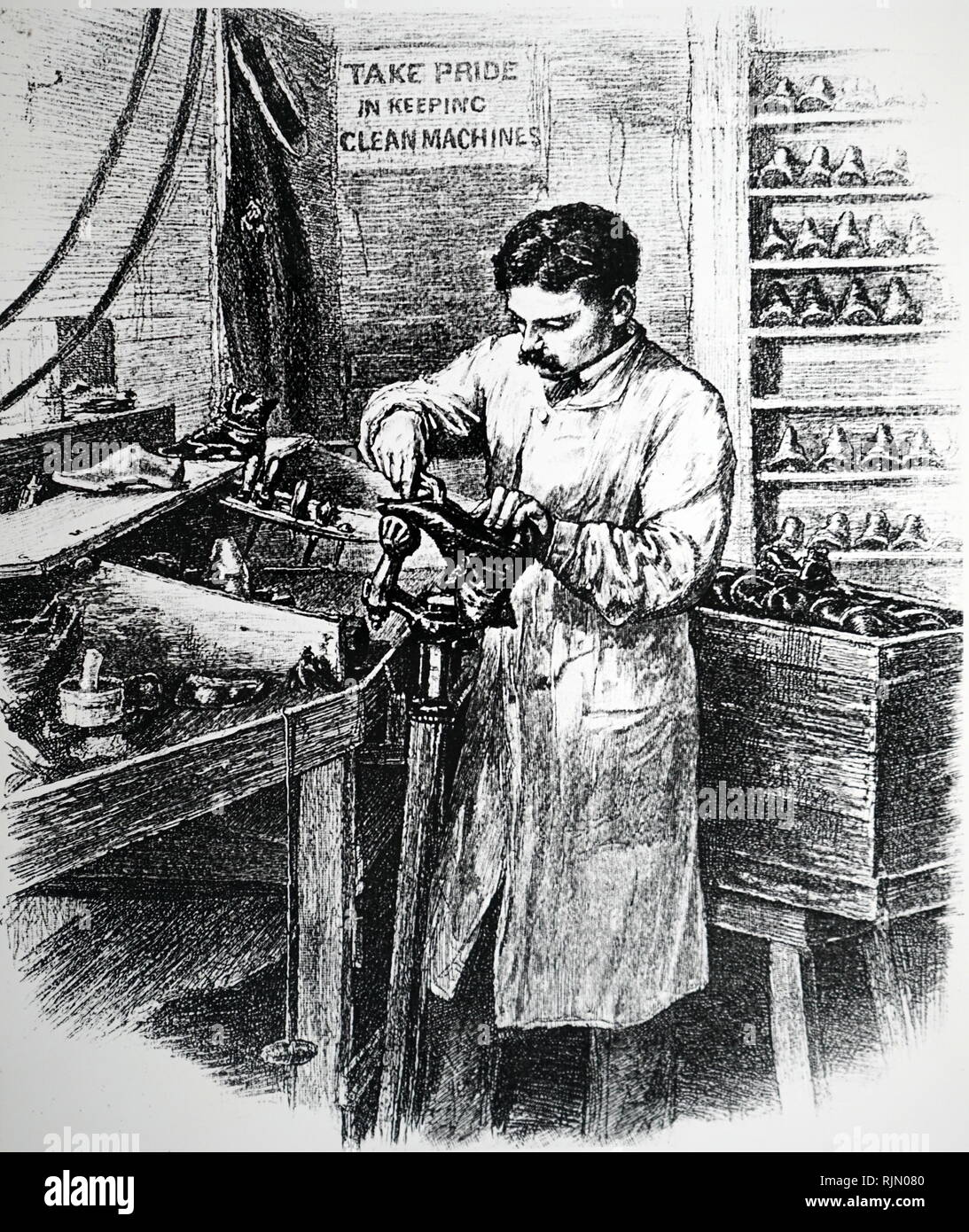 Illustration showing cobblers joining soles and uppers, on a last, in a shoe factory. United States 1885 - Stock Image