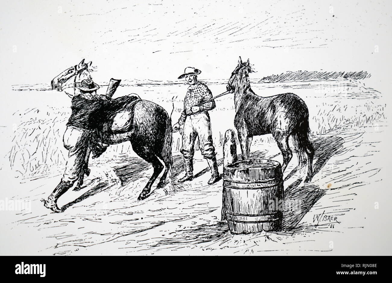 Illustration showing the Pony Express, postal relay. American 1890. - Stock Image