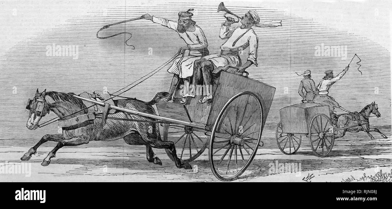 Mail carts in North-west India during the British Raj. 1846 - Stock Image