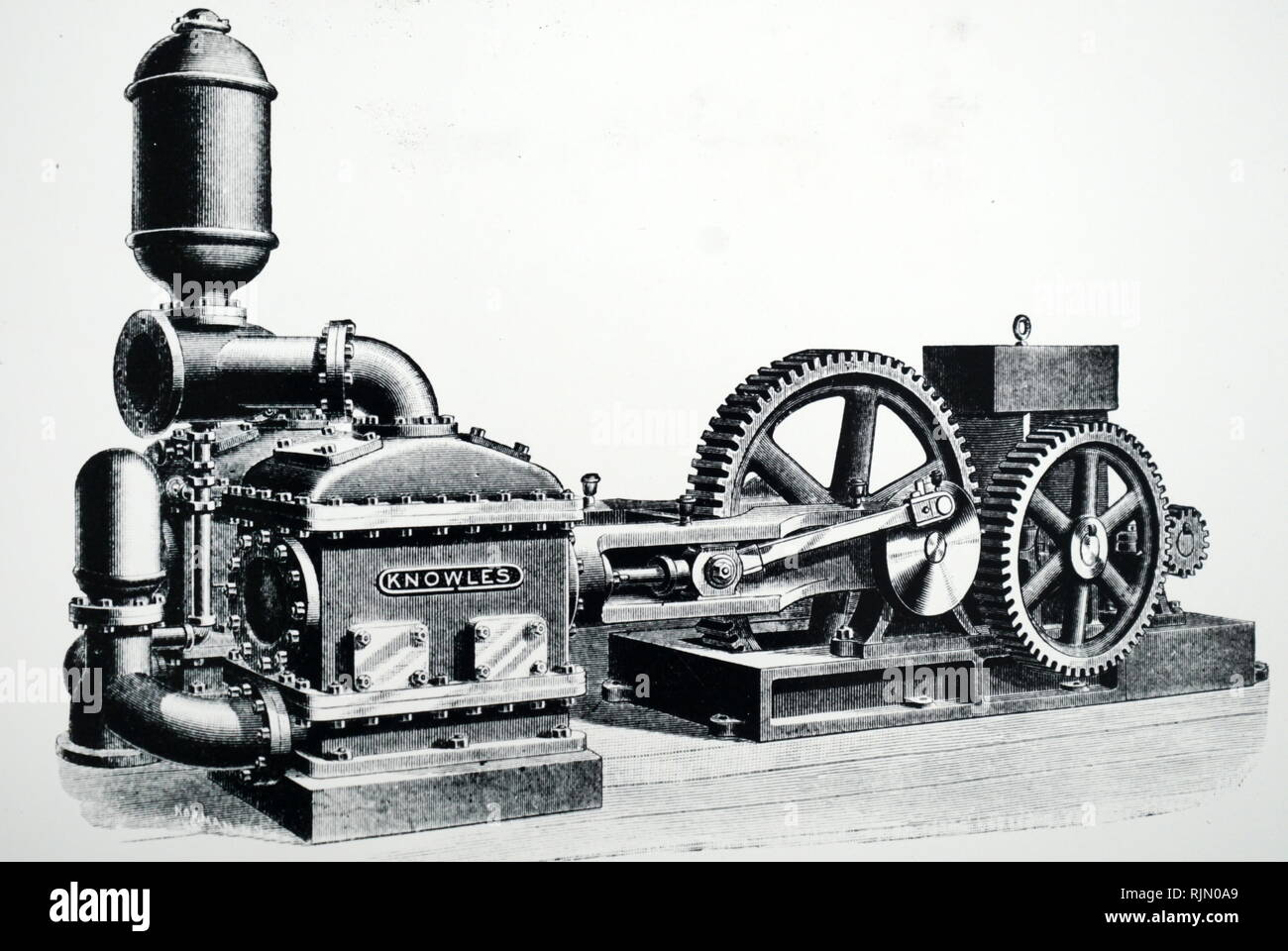 Illustration showing Duplex water works pumping engine powered by an Edison electric motor. New York, 1892. - Stock Image