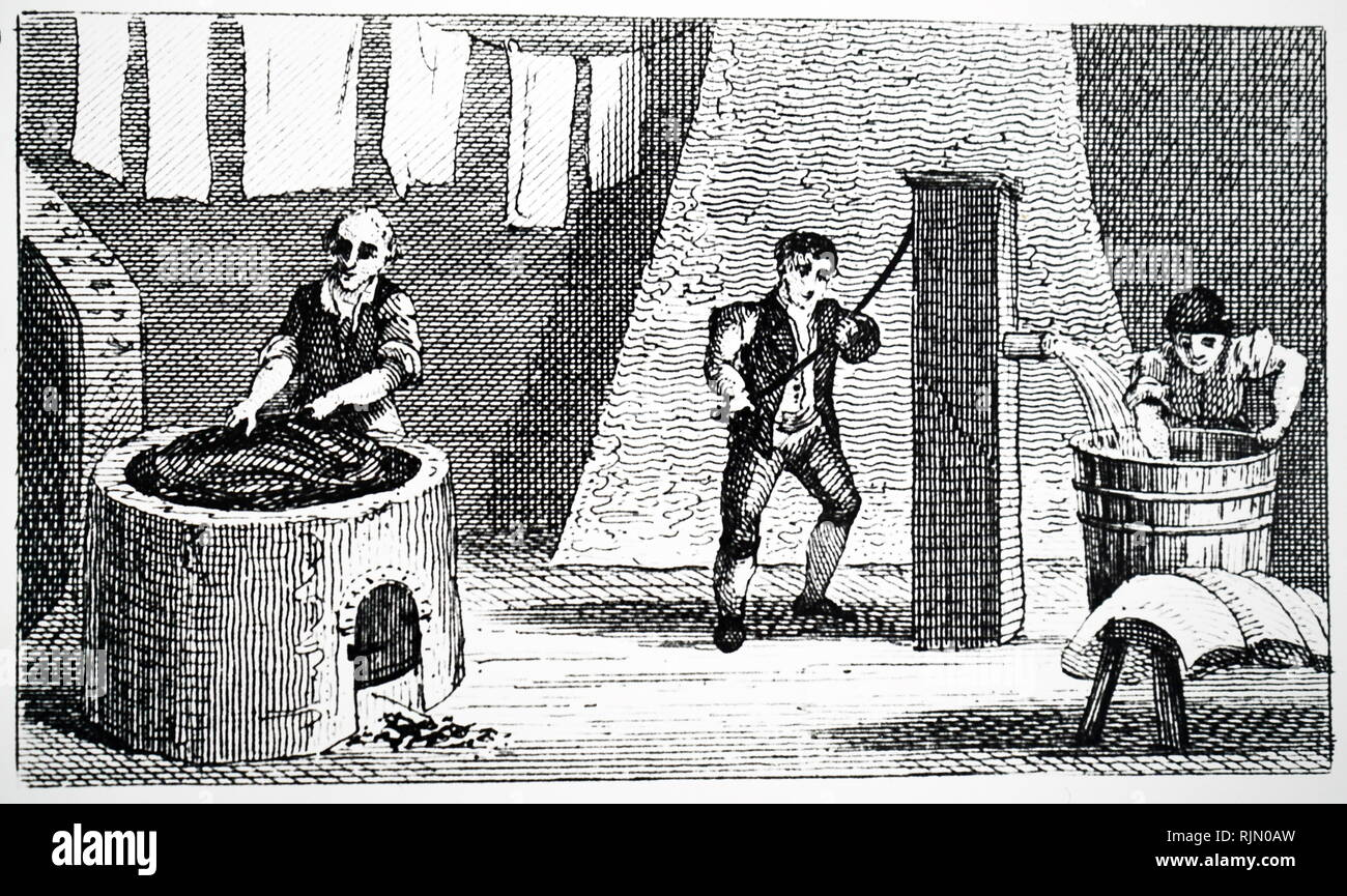 Illustration showing Silk production: Derby, England 1823 Stock Photo