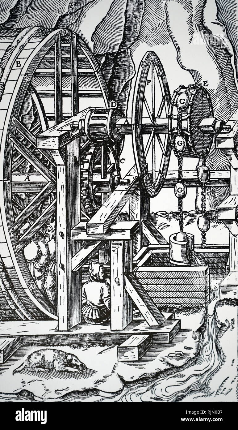 Illustration showing Draining mine workings with bank of three suction pumps. As men turn the shaft the cams, B, connect with the tappets, A, on the piston rods, C. From Agricola 'De re metallica', Basle, 1556 - Stock Image