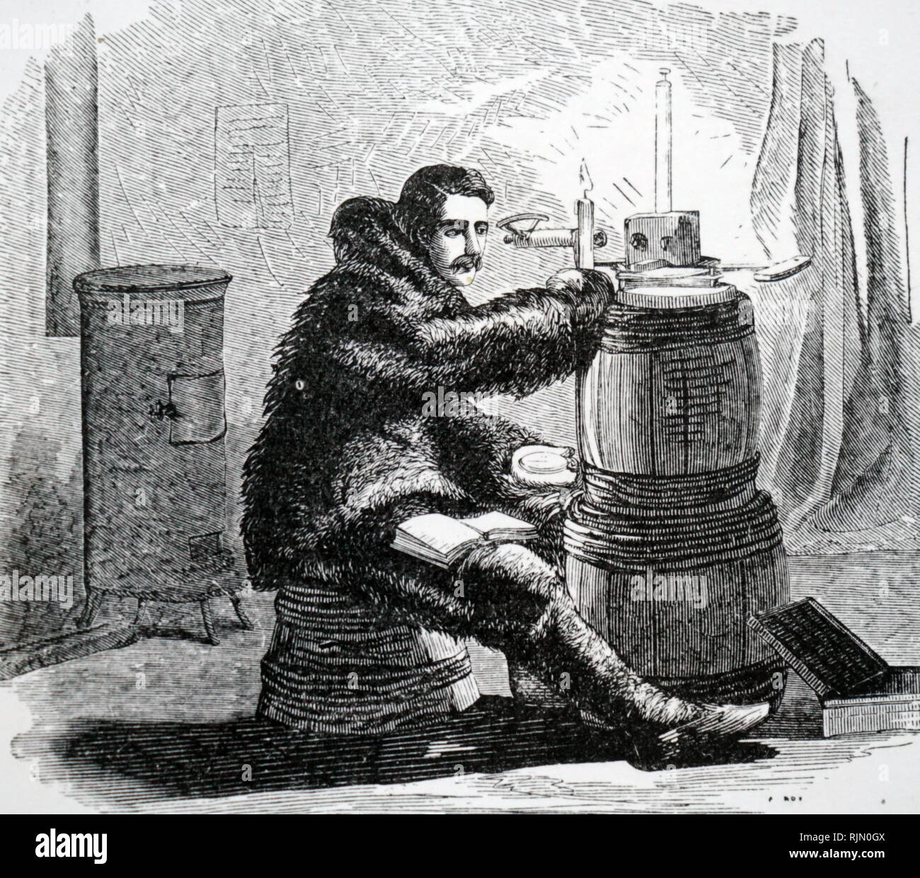 Illustration showing work in a magnetic observatory. From Elisha Kent Kane 'Arctic Explorations', The Second Grinnfell Expedition in Search of Sir John Franklin, 1853 - 1855. - Stock Image