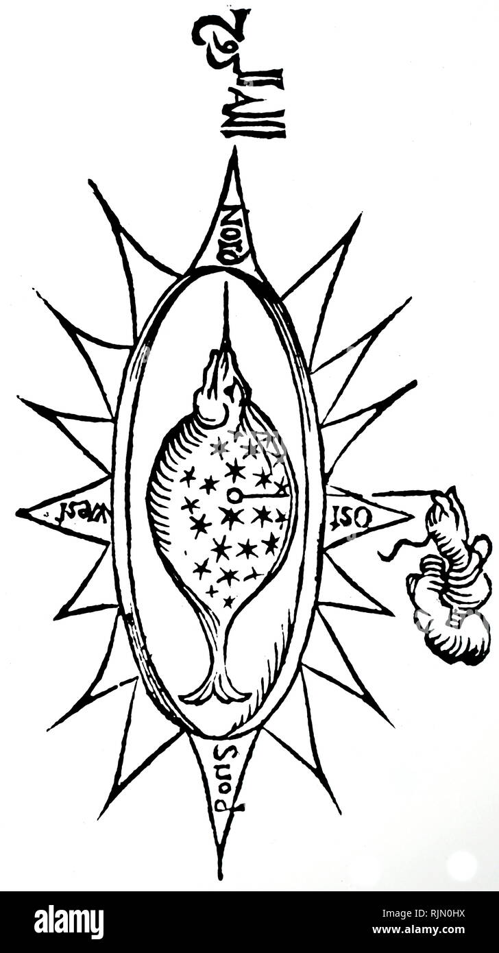 Illustration showing a simple compass in the shape of a fish. The lodestone is suspended on a thread. From Athanasius Kircher Madness sive de arte Mapnetica, Cologne ,1643 - Stock Image