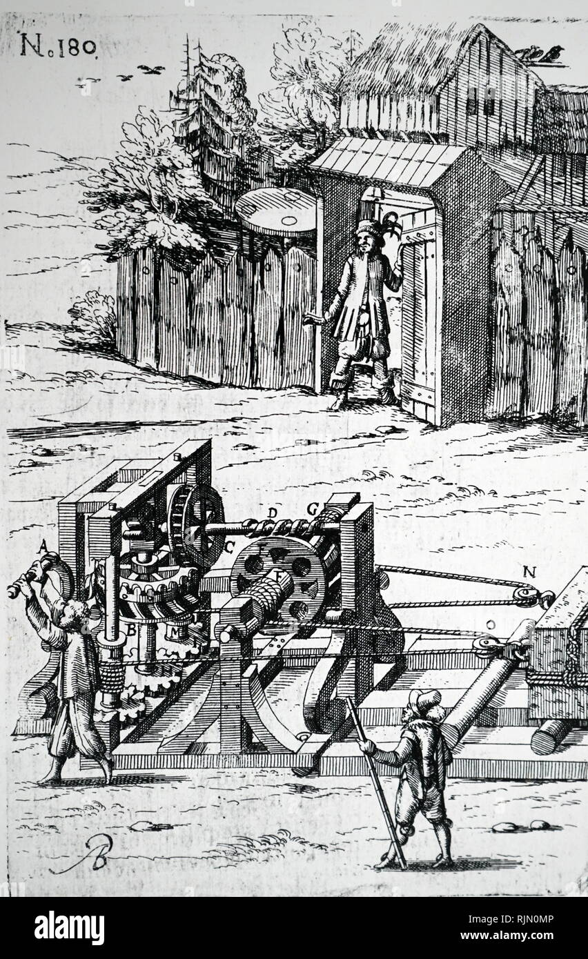 Illustration showing a winch and rollers used to move a heavy block of stone. Based on Ramelli's 'le diverse artificiose machine' 1620 - Stock Image