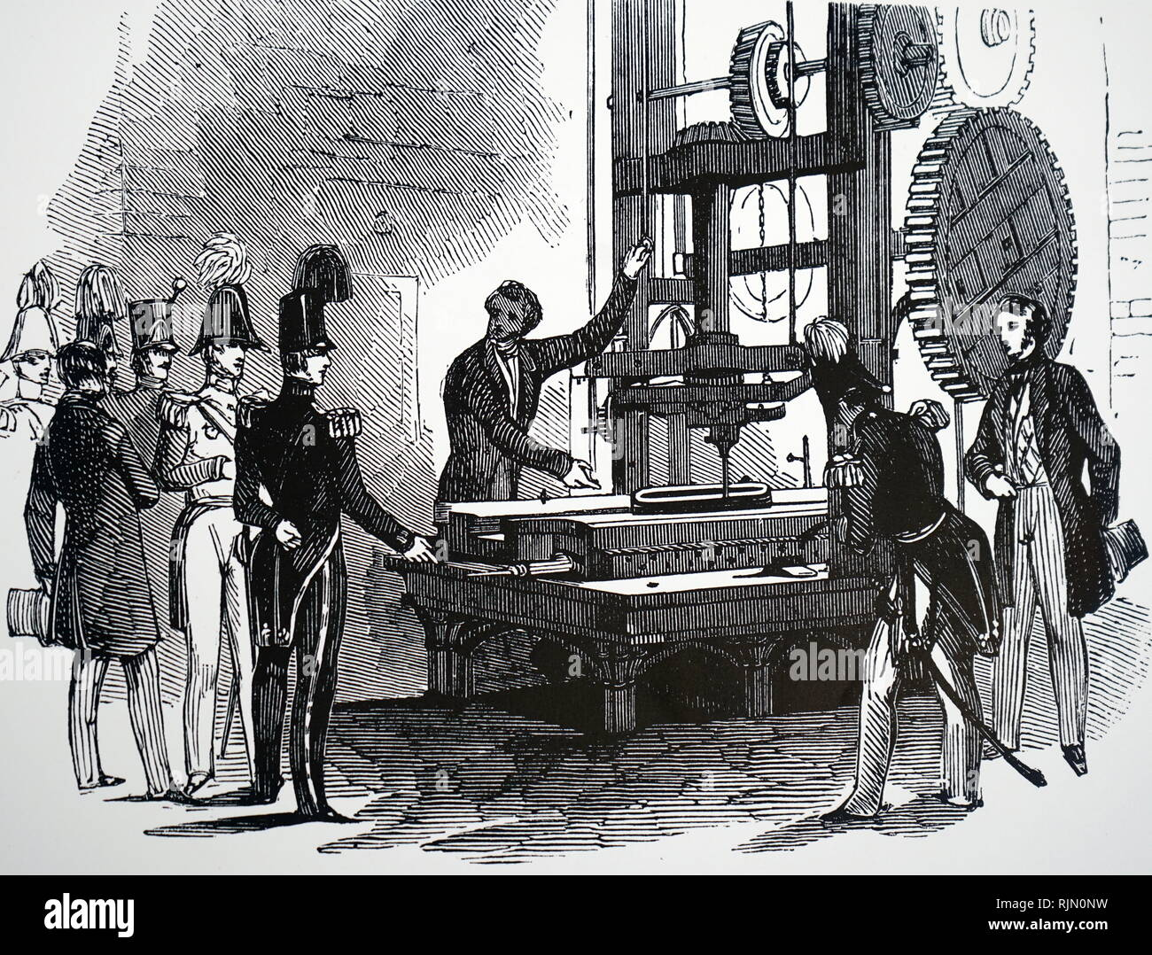 Illustration showing planning machine used at the Woolwich Arsenal, London. 1847 - Stock Image