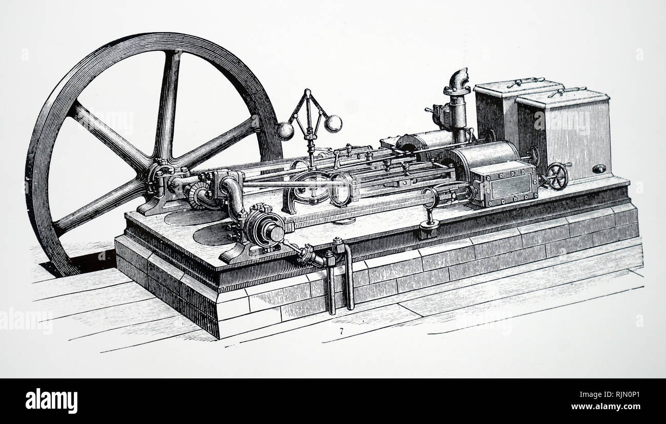 Illustration showing Horizontal steam engine shoving governor and flywheel 1888 - Stock Image
