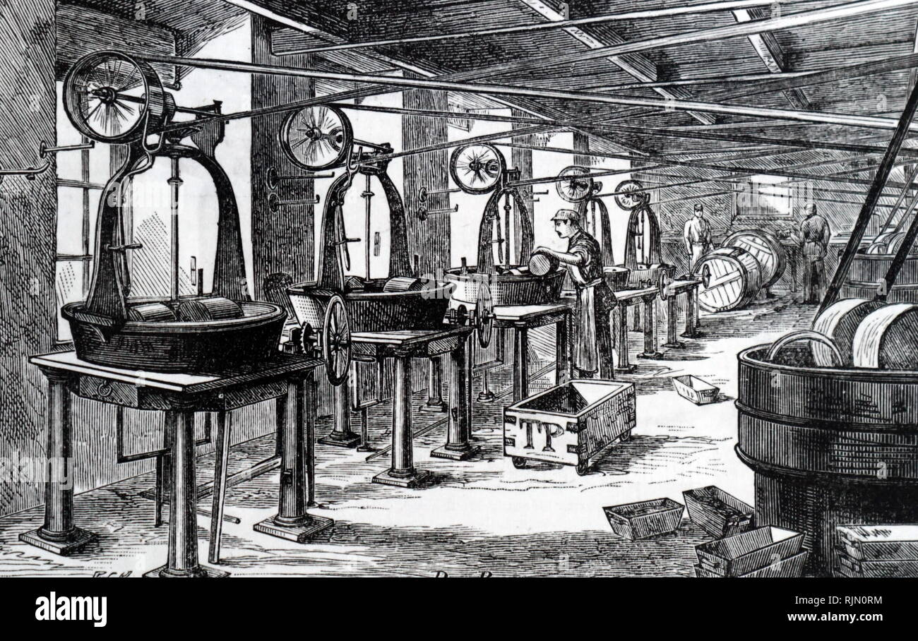 Illustration showing Cocoa, sugar and vanilla being combined in the pan room at Fry's cocoa and chocolate factory, Bristol. 1884 - Stock Image
