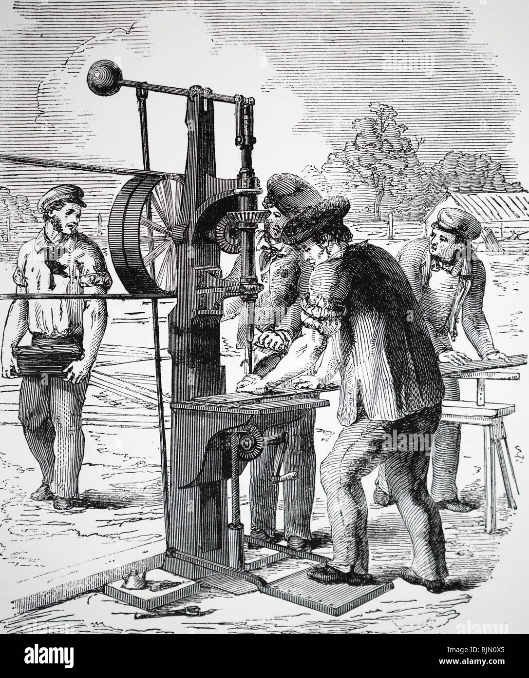 Illustration showing Nasmyth's drilling machine, used to perforate iron bars to take rivets during the construction of the Crystal Palace. 1850 Stock Photo