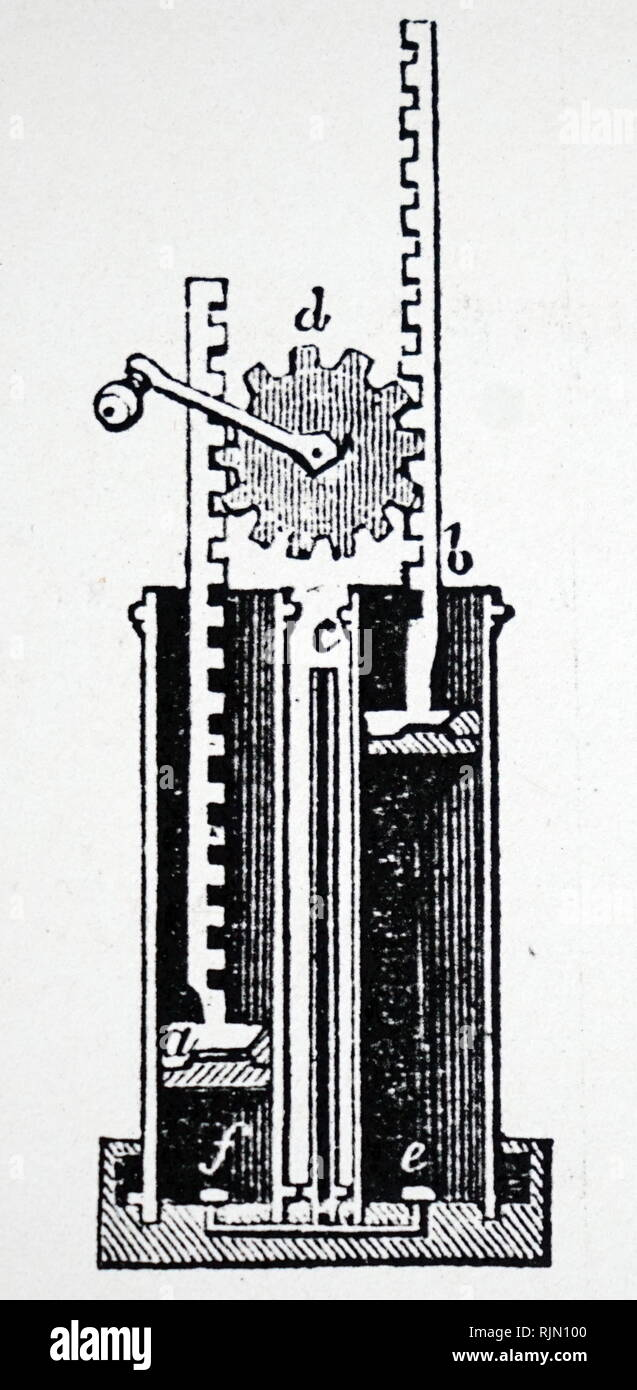 Sectional view of rack-and-pinion gearing for operating exhausting syringe on an air pump. Illustration published 1835 - Stock Image