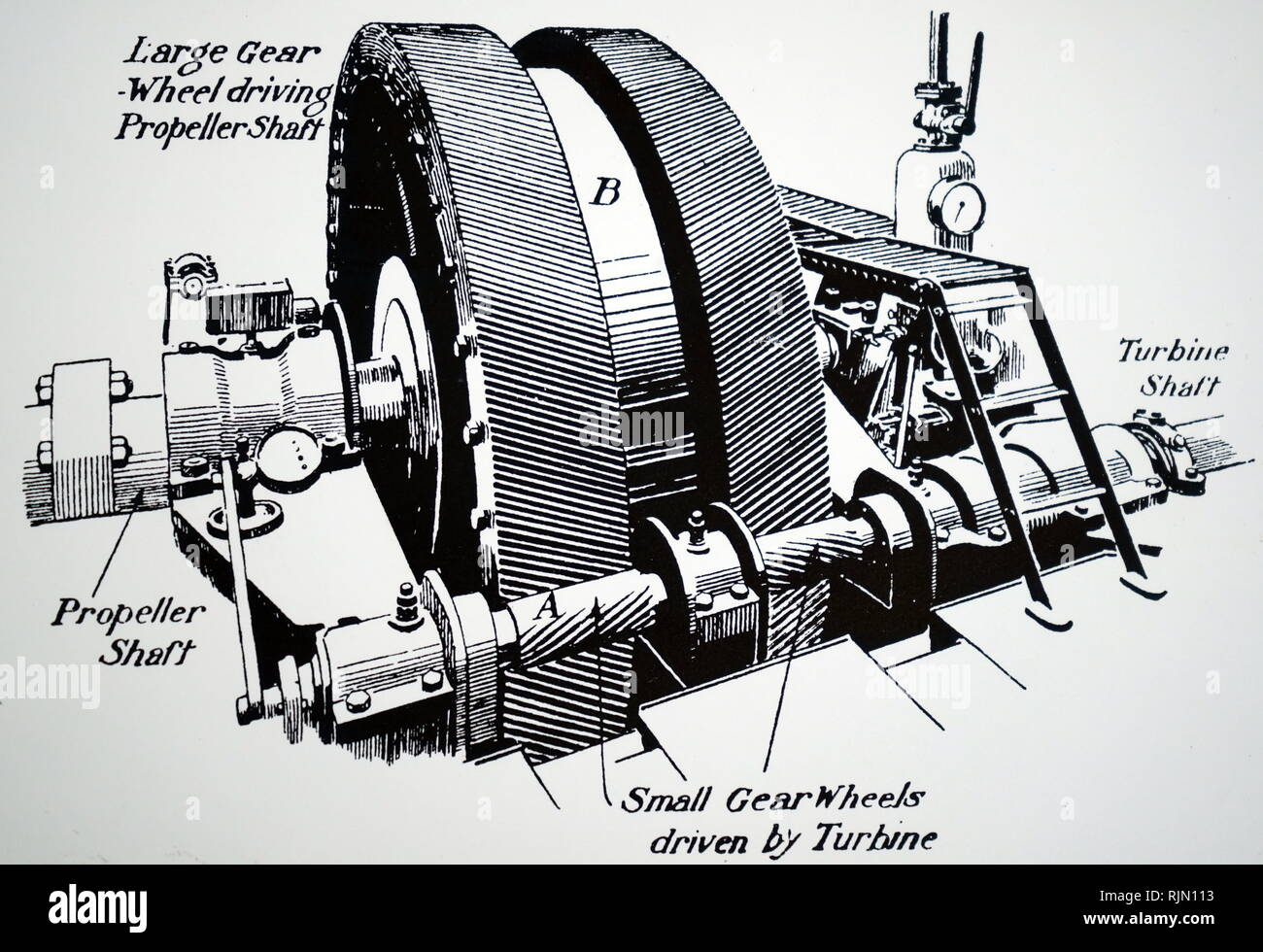 Illustration showing Parsons gearing down machinery for steam turbines, which allowed the turbine to be run much faster than the propeller 1913 - Stock Image