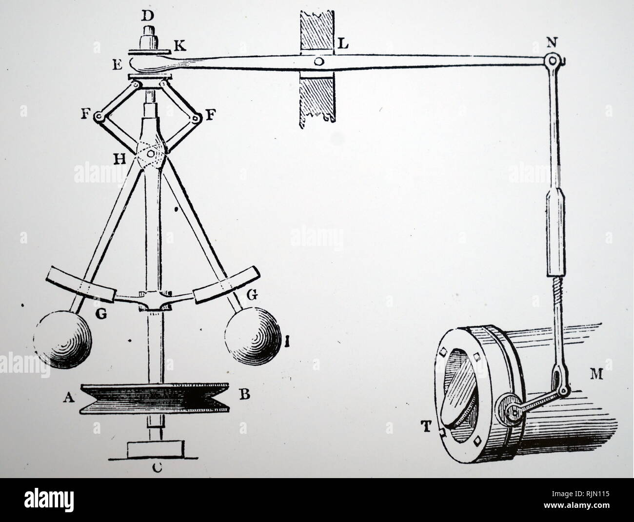 Illustration showing Watt's steam governor: 1855 - Stock Image